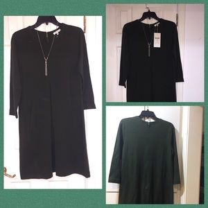 Olive green long sleeve knit dress.